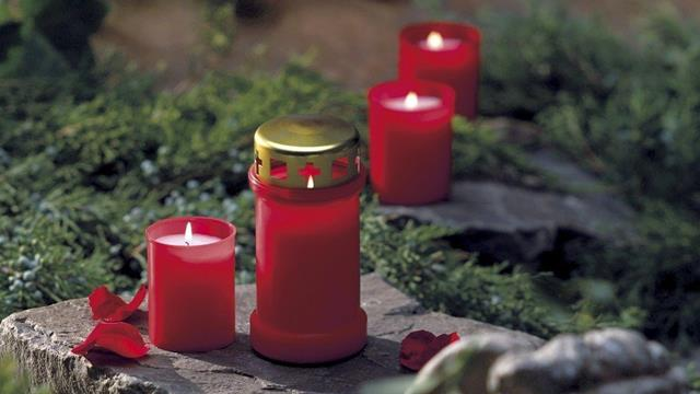 Bolsius candles memorial lights red